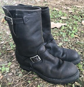 Vintage 1970s Sears Engineer Motorcycle Black Leather Boots Steel Toe Size 9E