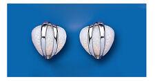 Opale Orecchini Cuore Bottone Argento Sterling Massiccio Borchie
