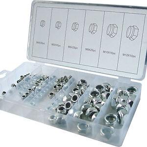 Steel Locknuts Nyloc / Nylon Lock Nut assortment set. 146 piece Locking Nuts