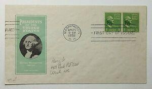 1938 FDC Presidents of the United States George Washington 1c Ioor Cachet #804