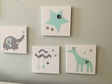 NURSERY CANVASES AND BUNTING SET baby mint grey elephant star giraffe cloud