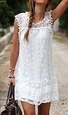 Ladies Quality White Lace Mini Beach Summer Dress Bikini Cover Up Size 8-12
