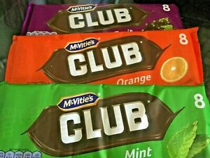 McVities Club Biscuits Orange, Mint, Fruit 1 Pack NEW SHIPS WORLDWIDE