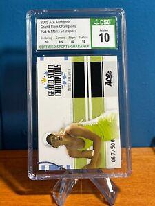 Pristine 10 Maria Sharapova /500 Grand Slam Champions Card -- 2005 Ace Authentic