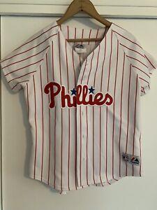Phillies Baseball Jersey Women's Majestic Large