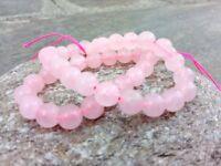 8 mm Genuine Round Pink Rose Quartz Beads - Grade  A - 1 mm Hole