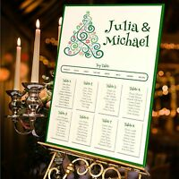 Personalised Wedding Table Seating Plan- CHRISTMAS TREE-WINTER -4 SIZES