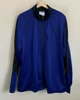 AND1 Mens Track Jacket Blue Black Colorblock Zip Front Pockets Polyester Size XL