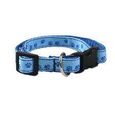 LIGHT BLUE PAW PRINT Small Adjustable Dog Collar Pet