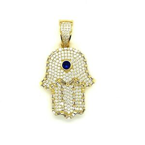 Sterling Silver 14K Gold Plated.925 cz Blue Stone Hamsa Star Pendant