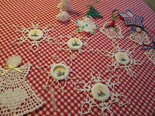 14 pcs Hand Made Crochet Christmas Ornaments Angels Snow Flakes Mouse Bells