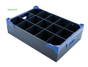 Pack of 3 - Glassware Storage Boxes for Bars - with 15 Cells (H160 x D95mm)