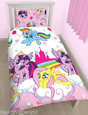 SINGLE BED MY LITTLE PONY EQUESTRIA DUVET COVER SET UNICORN RAINBOW PINK CLOUDS