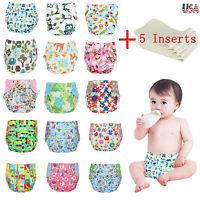 One Size Cloth Diapers + 5 Inserts Adjustable Reusable For Baby newborn