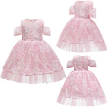 Pink Flower Girls Lace Party Dress Bridesmaid Pageant Prom Gown Tulle Dresses