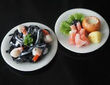 2 PLATES OF MINIATURE FOODS SHRIMP SQUID INK PASTA SOUP IN BREAD BOWL TOY FOOD