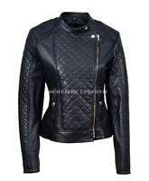 Ladies Diamond Black Stylish Short Real Soft Leather Biker Jacket