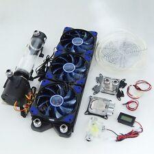 Glowry Water Cooling Kit 360mm Radiator 220mm Reservoir Pump Flow Meter Tubing Universal Intel AMD