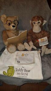 The Teddy Bear Museum Stratford-upon-avon Teddy Bear & Monkey Reading. RARE FIND