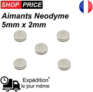 Lot 5 Aimants Frigo Neodyme Neodium Rond Fort Strong Magnet 5 mm x 2 mm (NEUF)