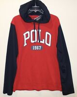 Polo Ralph Lauren Mens Red Blue Polo 1967 Hoodie L/S Cotton T-Shirt NWT Size S