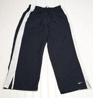 NIKE Women's M (8-10) Blue White Activewear Capri Pants Drawstring Elastic Waist