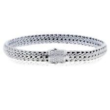 "John Hardy Classic Chain Pave Diamond Bracelet in Sterling Silver 925 Size 7.5"""