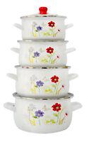 8 Pcs Marmites Émaillé Set Batterie de cuisine Casseroles Soupe Pots Blanc Fleur