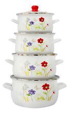 8 Pc Émail Batterie Cuisine Set Soupe Marmite Ragoût Casserole Poêle Fleurs Set