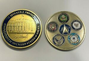 """2 coins- New All 6 Military Branches 2"""" coin + TRUMP 45 Presidential Coin"""