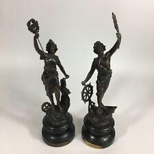 More details for antique pair of spelter figures l'industrie & le commerce 34cm & 32.5cm high