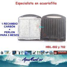 recambio carbon perlon filtro mochila externo exterior acuario HBL-502 pecera