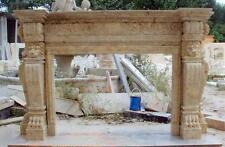 Hand Carved Marble Fireplace Mantel with Lion Details , #3710