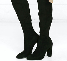 Steve Madden Black Faux Suede Tall Winter Knee Boots Size 7.5 M $99