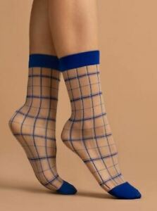 Contrast Band and Toe Plaid Patterned Hosiery Socks KLEIN 15 Denier Nylon Socks