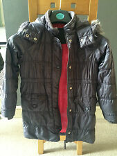 Girls Marks & Spencer Parka style 'Grape' Coloured Coat with hood Age 9-10 Years