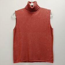 Akris Size 12 Sweater Pullover Sleeveless Turtleneck Orange Silk Cashmere