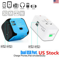 US International Square Travel Plug Outlet Converter Adapter Dual USB Charger