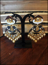 Meenakari Kundan Pearl Earrrings / Bollywood Jewelry-7
