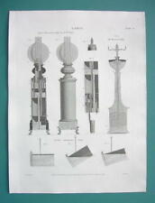 LAMPS Various Types Hydro Pneumatic Automaton - 1817 Antique Print A. Rees