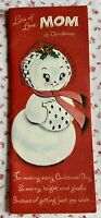 """Vtg. Mid Century Norcross Christmas Tree Snow Woman Queen Size Greeting Card 12"""""""
