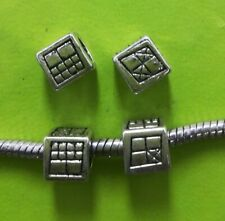 60pcs Tibet Silver Cube Big Hole Bead Spacers 7.5x7.5mm 14439