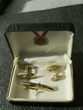 "Hickok Gold Tone Free Mason Masonic Tie Bar & Oval ""T"" Cufflinks in Case  USA"