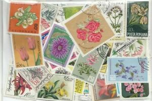 Flowers - 200 Different Stamps Collection