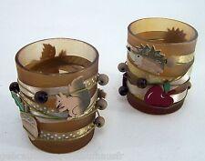 Windlicht Glas 2Stk Teelicht Kerzenhalter schönes Dekor & Farbspiel rund