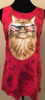 Hybrid Tees Womens Tank Top Sz Large Red Tie Die Style Patriotic Cat Sleeveless