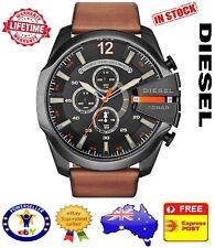 DIESEL DZ4343 Mega Chief Black Borwn Leather Mens Watch Stainless Steel Chrono