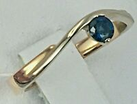 Vintage Original Rose & White Gold Ring with Natural Sapphire 585 14K, Gold Ring