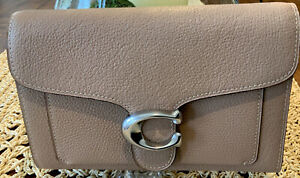 NWT COACH 89364 Tabby Chain Polished Pebble Leather Clutch Crossbody Taupe $295
