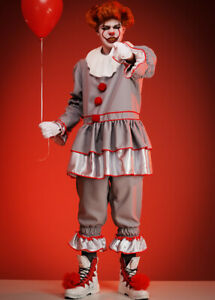 Mens Halloween It Clown Style Deluxe Fancy Dress Costume TOP AND PANTS ONLY
